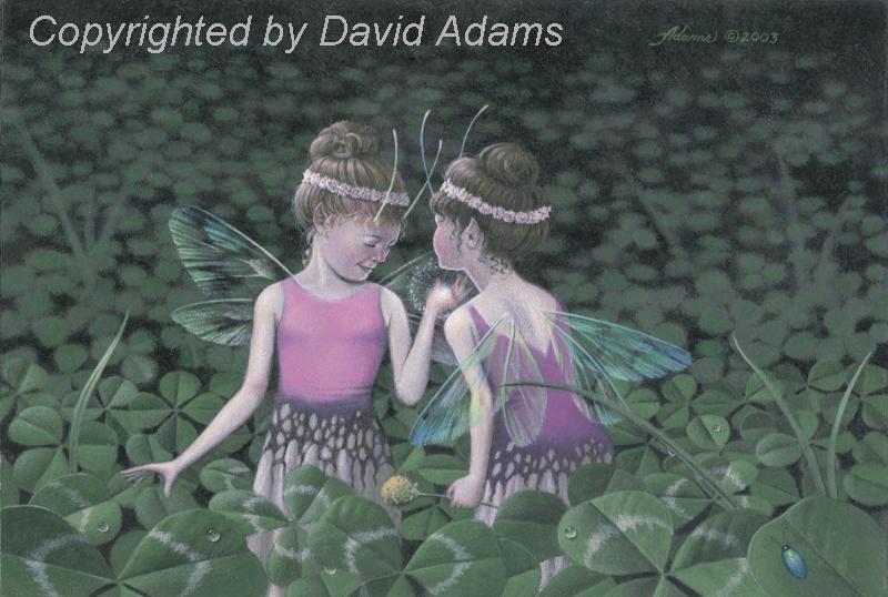 painting of clover fairies