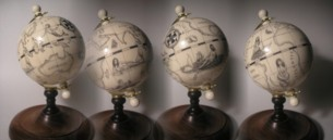 Four views of a globe
